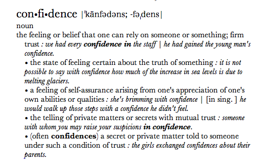 Confidence definition