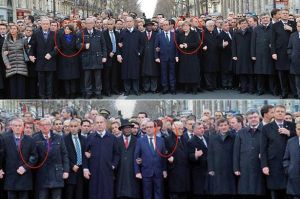 This image shows the comparison. http://www.mirror.co.uk/news/world-news/charlie-hebdo-female-world-leaders-4976457